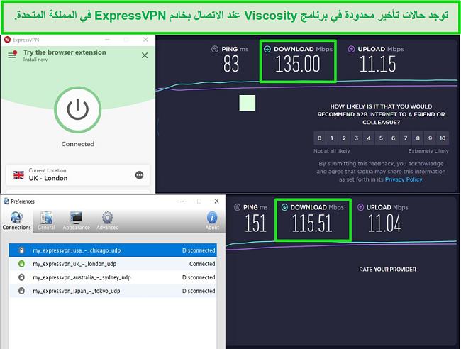 لقطة شاشة لنتائج اختبار السرعة أثناء الاتصال بخوادم Express VPN في المملكة المتحدة من خلال كل من Viscosity و ExpressVPN