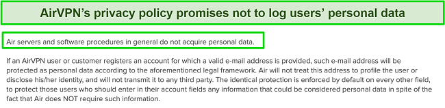 Screenshot of AirVPN's privacy policy promises not to log users personal data