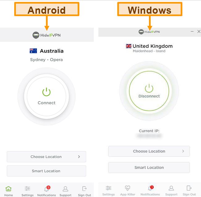 Екранна снимка на настолните и мобилните приложения на HideIPVPN.
