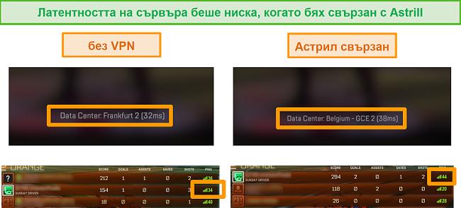 Екранна снимка на пинговете на Apex Legends и Rocket League, когато е изключен и свързан с локален сървър на Astrill VPN.