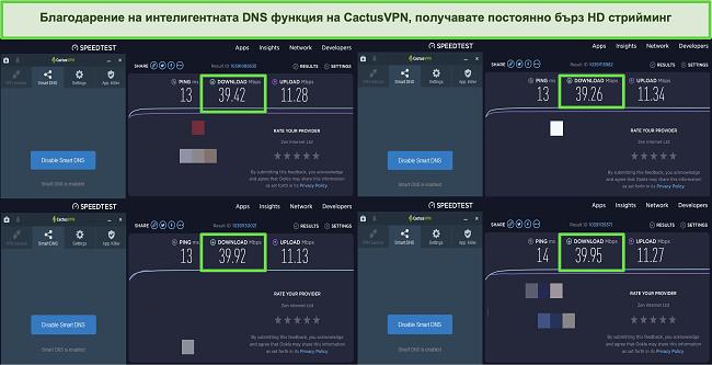 Екранна снимка на 4 теста за скорост, докато сте свързани с интелигентните DNS сървъри на CactusVPN