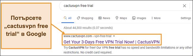 Снимка на екрана, показваща как да намерите безплатната пробна версия на CactusVPN в Google