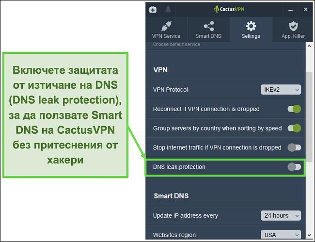 Снимка на екрана, показваща как да активирате DNS защита от изтичане