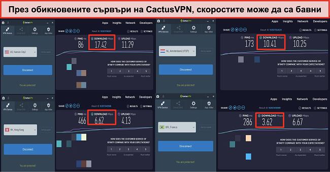 Екранна снимка на бавни скорости на нормалните сървъри на CactusVPN