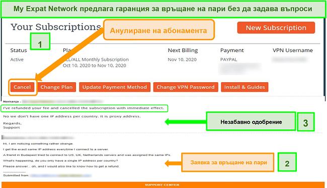 Екранна снимка на процеса на възстановяване на средства от My Expat Network