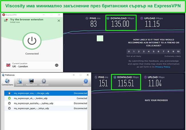 Екранна снимка на резултатите от теста за скорост, докато сте свързани с британските сървъри на Express VPN чрез Viscosity и ExpressVPN
