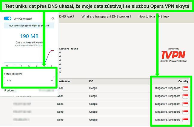 Snímek obrazovky s výsledky testů úniku DNS, které při připojení k Opera VPN nevykazují žádné úniky.