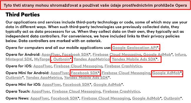 Snímek obrazovky zásad ochrany osobních údajů Opery odhalující shromažďování údajů třetími stranami.