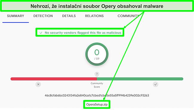 Snímek obrazovky se skenováním malwaru, který v instalačním souboru Opery nenalezl žádné viry.