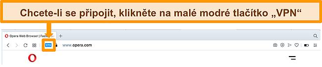 Snímek obrazovky vyhledávacího panelu Opera VPN.