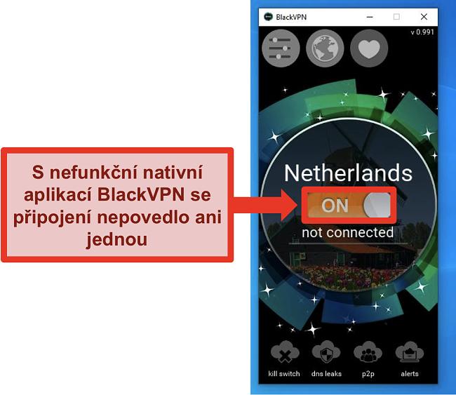 Screenshot připojení klienta Windows BlackVPN se nepřipojuje, přestože je zapnutý