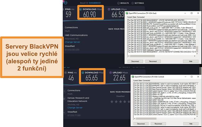 Screenshot ze 2 testů rychlosti při připojení k serverům BlackVPN v USA