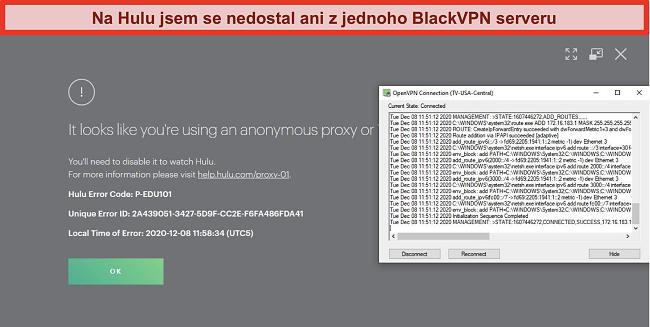 Screenshot chyby IP proxy serveru Hulu, když je BlackVPN připojen přes OpenVPN