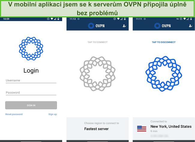 Screenshot z procesu přihlášení OVPN v mobilu