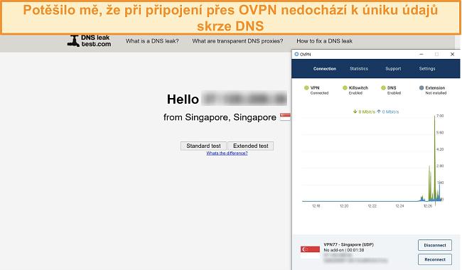 Screenshot OVPN procházejícího testem úniku DNS