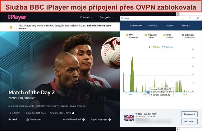 Screenshot blokování OVPN programem BBC iPlayer