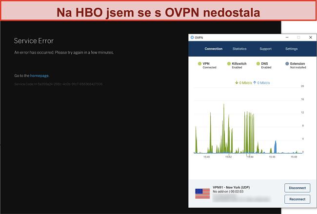 Screenshot z blokování OVPN ze strany HBO