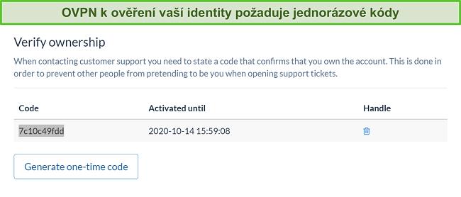 Screenshot jednorázového kódu OVPN k ověření identity během procesu zrušení předplatného