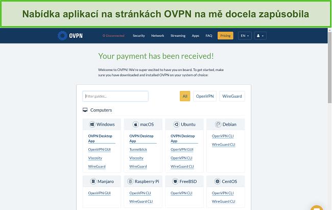 Screenshot možností aplikace OVPN