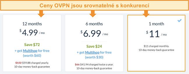 Screenshot cenových možností OVPN
