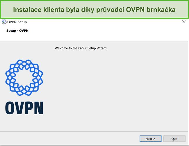 Screenshot průvodce nastavením OVPN