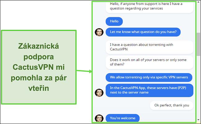 Screenshot, který ukazuje rychlou a užitečnou podporu zákazníků