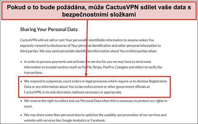 Screenshot ze zásad ochrany osobních údajů CactusVPN, který ukazuje, že předají vaše data