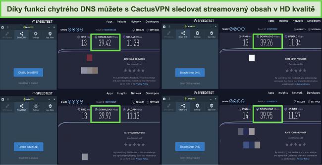 Screenshot ze 4 testů rychlosti při připojení k inteligentním serverům DNS CactusVPN