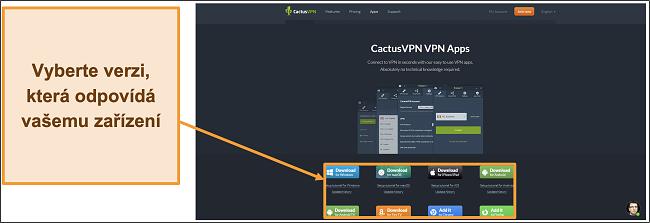 Screenshot ukazující, kam stáhnout požadovanou verzi CactusVPN z jejích webových stránek