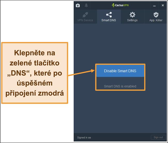 Screenshot rozhraní CactusVPN, který ukazuje, jak povolit inteligentní DNS