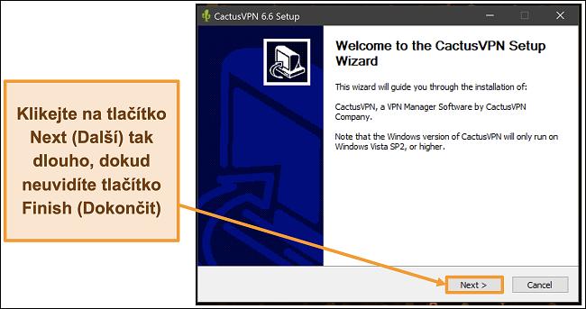 Screenshot ukazující, jak nainstalovat CactusVPN pomocí průvodce instalací