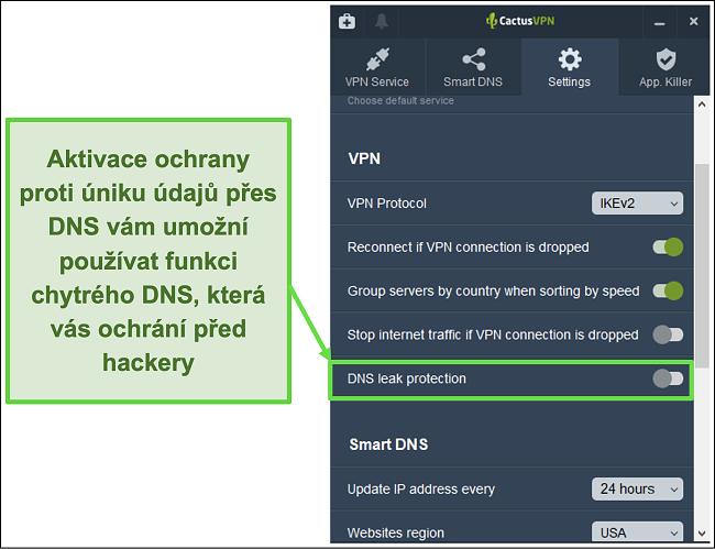 Screenshot ukazující, jak povolit ochranu proti úniku DNS