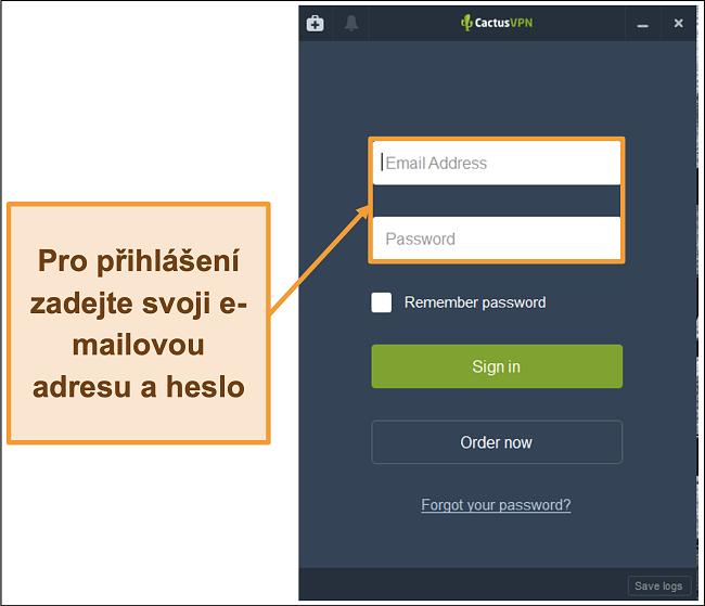 Screenshot zobrazující přihlašovací obrazovku klienta CactusVPN