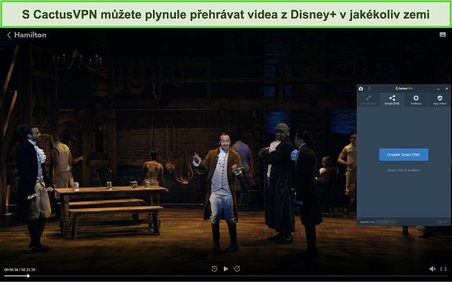 Screenshot Hamiltona úspěšně streamovaného na Disney + s připojeným CactusVPN