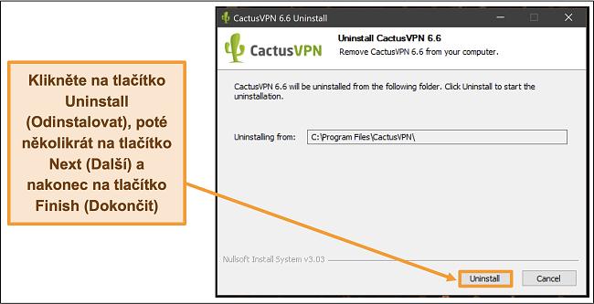 Screenshot ukazující, jak dokončit odinstalování CactusVPN z průvodce odinstalací
