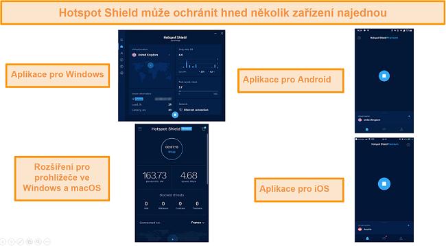 snímek obrazovky aplikace Hotspot Shield v systémech Windows, Android, Mac a iOS.