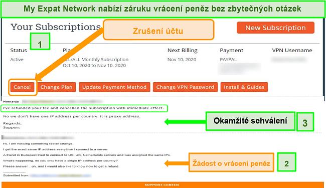 Screenshot procesu vracení peněz z mé Expat Network