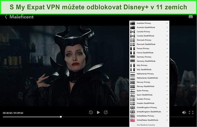 Screenshot z odblokování sítě My Expat Network společnosti Disney + US