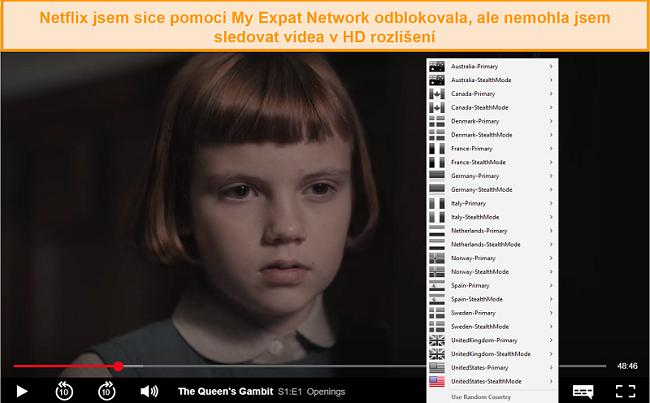 Screenshot z odblokování sítě My Expat Networking Netflix USA