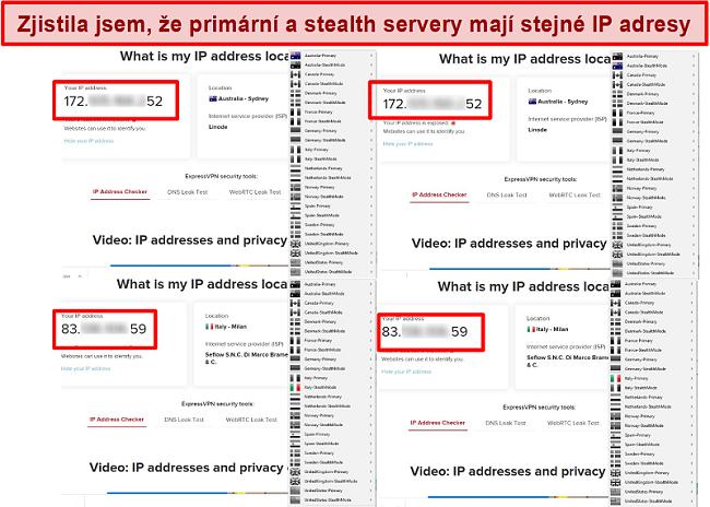 Screenshot z primárních a tajných serverů My Expat Network poskytujících stejnou IP adresu
