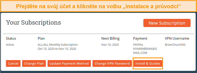 Screenshot prvního kroku instalace Moje Expat Network