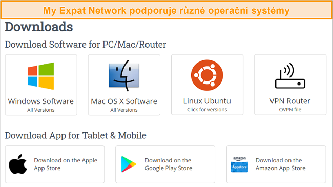 Screenshot z výběru podporovaných platforem My Expat Network