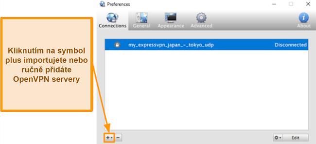 Screenshot aplikace Viscosity ukazující, jak přidat servery OpenVPN