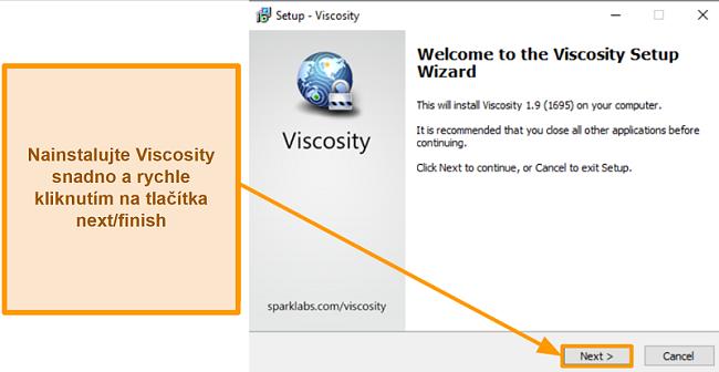 Screenshot průvodce nastavením viskozity k instalaci aplikace