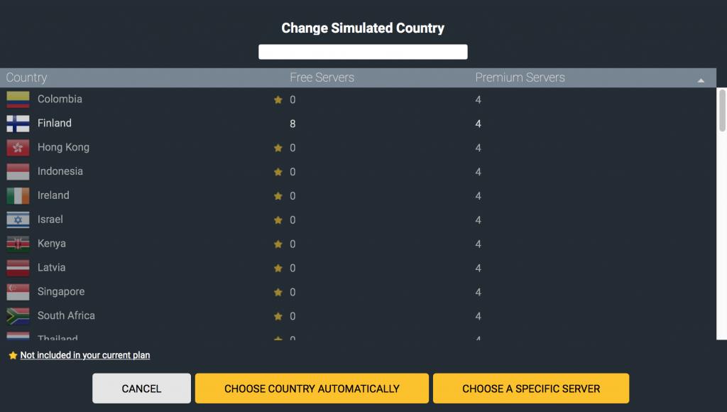 CyberGhost更改国家