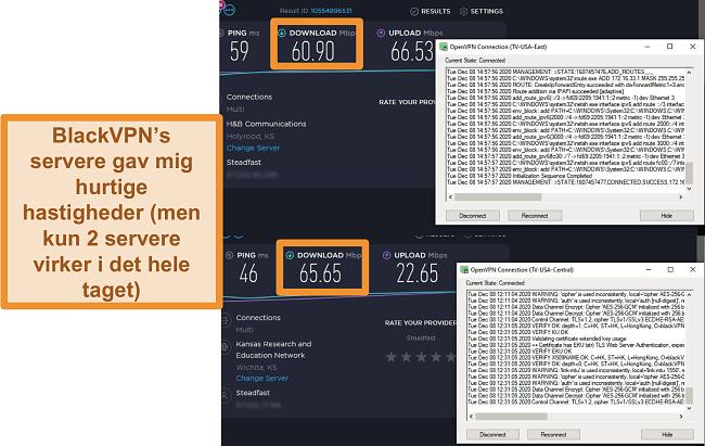 Skærmbillede af 2 hastighedstest, når der er forbindelse til BlackVPN-servere i USA