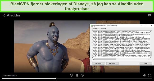 Skærmbillede af Aladdin på Disney +, mens BlackVPN er forbundet til den amerikanske centrale streaming-server via OpenVPN-klienten