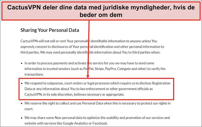 Skærmbillede af CactusVPNs privatlivspolitik, der viser, at de overleverer dine data