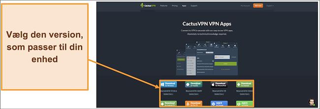 Skærmbillede, hvor du kan downloade den version af CactusVPN, du ønsker, fra dens websted