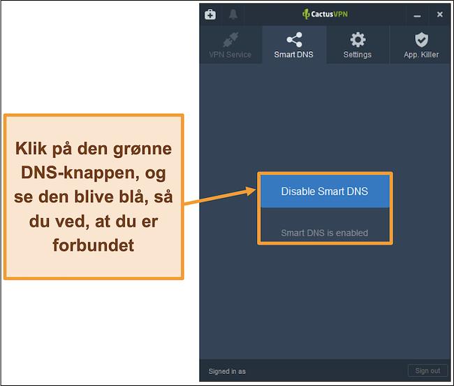 Skærmbillede af CactusVPN-interface, der viser, hvordan du aktiverer smart DNS